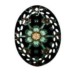 Kaleidoscope With Bits Of Colorful Translucent Glass In A Cylinder Filled With Mirrors Oval Filigree Ornament (Two Sides)