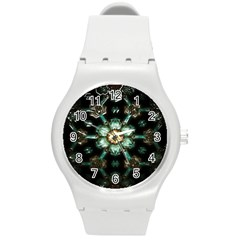 Kaleidoscope With Bits Of Colorful Translucent Glass In A Cylinder Filled With Mirrors Round Plastic Sport Watch (M)