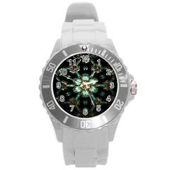 Kaleidoscope With Bits Of Colorful Translucent Glass In A Cylinder Filled With Mirrors Round Plastic Sport Watch (L)