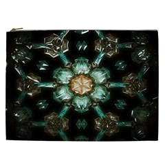 Kaleidoscope With Bits Of Colorful Translucent Glass In A Cylinder Filled With Mirrors Cosmetic Bag (XXL)
