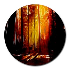 Artistic Effect Fractal Forest Background Round Mousepads