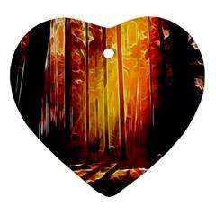 Artistic Effect Fractal Forest Background Ornament (Heart)