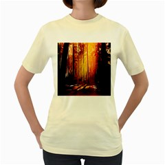 Artistic Effect Fractal Forest Background Women s Yellow T Shirt