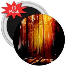 Artistic Effect Fractal Forest Background 3  Magnets (10 pack)