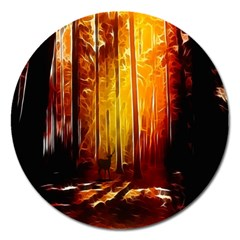 Artistic Effect Fractal Forest Background Magnet 5  (round)