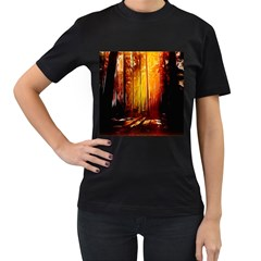 Artistic Effect Fractal Forest Background Women s T-Shirt (Black) (Two Sided)