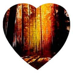 Artistic Effect Fractal Forest Background Jigsaw Puzzle (Heart)