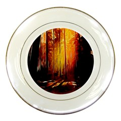 Artistic Effect Fractal Forest Background Porcelain Plates