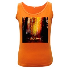 Artistic Effect Fractal Forest Background Women s Dark Tank Top