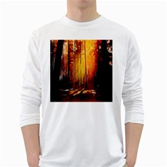 Artistic Effect Fractal Forest Background White Long Sleeve T Shirts