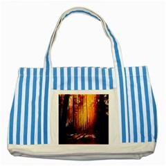Artistic Effect Fractal Forest Background Striped Blue Tote Bag