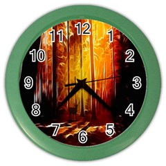 Artistic Effect Fractal Forest Background Color Wall Clocks