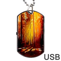 Artistic Effect Fractal Forest Background Dog Tag USB Flash (One Side)