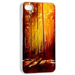 Artistic Effect Fractal Forest Background Apple iPhone 4/4s Seamless Case (White)
