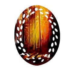 Artistic Effect Fractal Forest Background Ornament (oval Filigree)