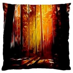 Artistic Effect Fractal Forest Background Large Cushion Case (one Side)