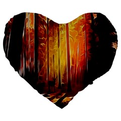 Artistic Effect Fractal Forest Background Large 19  Premium Heart Shape Cushions