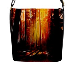 Artistic Effect Fractal Forest Background Flap Messenger Bag (L)