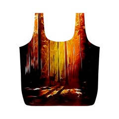 Artistic Effect Fractal Forest Background Full Print Recycle Bags (M)