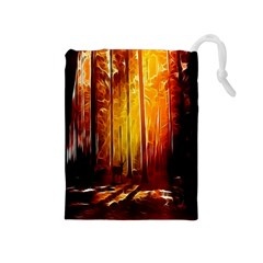 Artistic Effect Fractal Forest Background Drawstring Pouches (Medium)