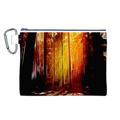 Artistic Effect Fractal Forest Background Canvas Cosmetic Bag (L)