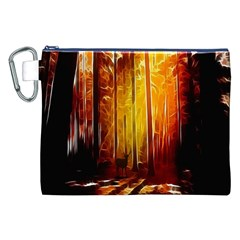 Artistic Effect Fractal Forest Background Canvas Cosmetic Bag (XXL)