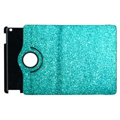 Tiffany Aqua Blue Glitter Apple iPad 3/4 Flip 360 Case