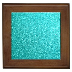 Tiffany Aqua Blue Glitter Framed Tiles
