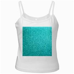 Tiffany Aqua Blue Glitter White Spaghetti Tank