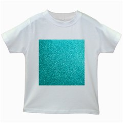 Tiffany Aqua Blue Glitter Kids White T-Shirts