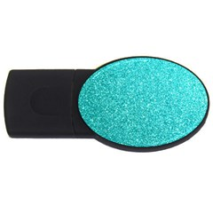 Tiffany Aqua Blue Glitter USB Flash Drive Oval (2 GB)