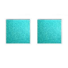 Tiffany Aqua Blue Glitter Cufflinks (Square)