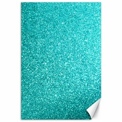 Tiffany Aqua Blue Glitter Canvas 12  x 18