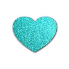 Tiffany Aqua Blue Glitter Heart Coaster (4 pack)