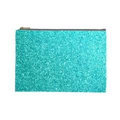 Tiffany Aqua Blue Glitter Cosmetic Bag (Large)
