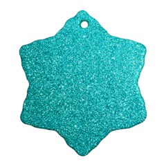 Tiffany Aqua Blue Glitter Snowflake Ornament (Two Sides)