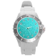 Tiffany Aqua Blue Glitter Round Plastic Sport Watch (l)