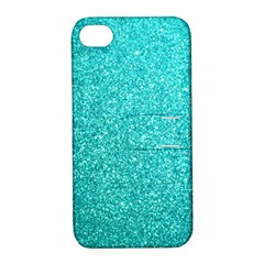 Tiffany Aqua Blue Glitter Apple iPhone 4/4S Hardshell Case with Stand