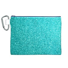 Tiffany Aqua Blue Glitter Canvas Cosmetic Bag (XL)
