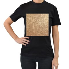 Copper Rose Gold Metallic Glitter Women s T-Shirt (Black) (Two Sided)