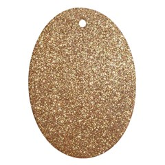 Copper Rose Gold Metallic Glitter Oval Ornament (Two Sides)