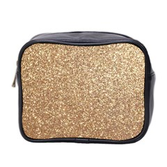 Copper Rose Gold Metallic Glitter Mini Toiletries Bag 2-Side