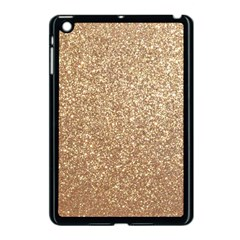 Copper Rose Gold Metallic Glitter Apple iPad Mini Case (Black)