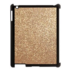 Copper Rose Gold Metallic Glitter Apple iPad 3/4 Case (Black)
