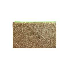 Copper Rose Gold Metallic Glitter Cosmetic Bag (XS)