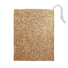 Copper Rose Gold Metallic Glitter Drawstring Pouches (Extra Large)