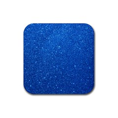 Night Sky Sparkly Blue Glitter Rubber Square Coaster (4 pack)