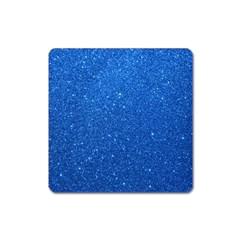 Night Sky Sparkly Blue Glitter Square Magnet