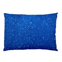 Night Sky Sparkly Blue Glitter Pillow Case