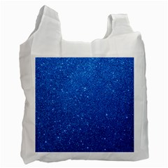 Night Sky Sparkly Blue Glitter Recycle Bag (One Side)